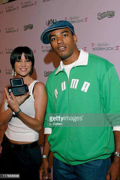 Laz Alonso and guest during TMobile Sidekick II Custom Series Launch Party Red Carpet at TMobile Sidekick II City in Los Angeles California United...