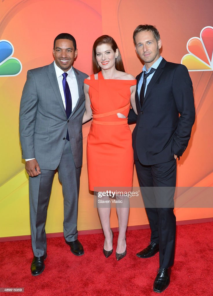 Laz Alonso, Debra Messing and Josh Lucas attend the 2014 NBC Upfront Presentation at The Jacob K. Javits Convention Center on May 12, 2014 in New York City.