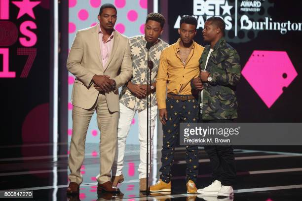 Laz Alonso Jacob Latimore Algee Smith and Jason Mitchell speak onstage at 2017 BET Awards at Microsoft Theater on June 25 2017 in Los Angeles...