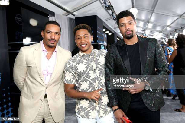 Laz Alonso Jacob Latimore and DeRay Davis at the 2017 BET Awards at Staples Center on June 25 2017 in Los Angeles California