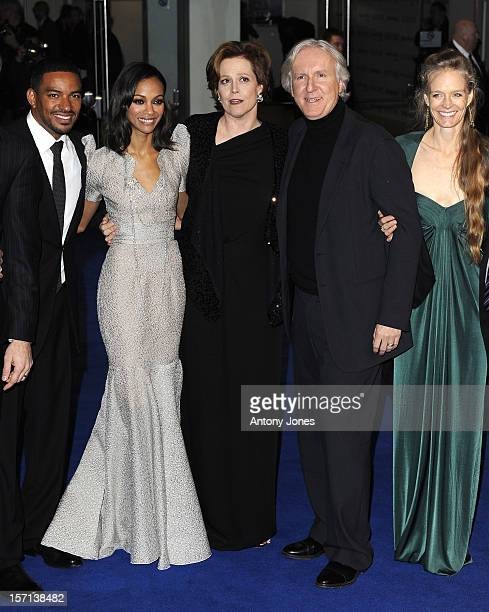 Laz Alonso Zoe Saldana Sigourney Weaver And James Cameron And Wife Suzy Amis Attends The World Premiere Of Avatar At The Odeon And Empire Leicester...