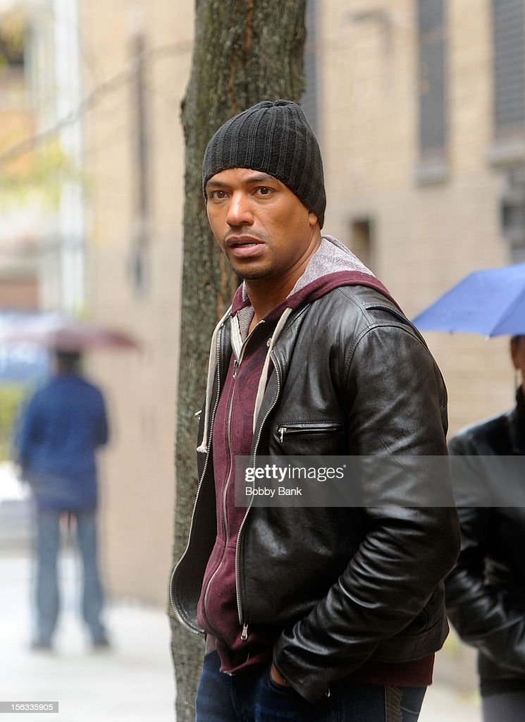 Laz Alonzo filming on location for 'Infamous' on November 13, 2012 in New York City.