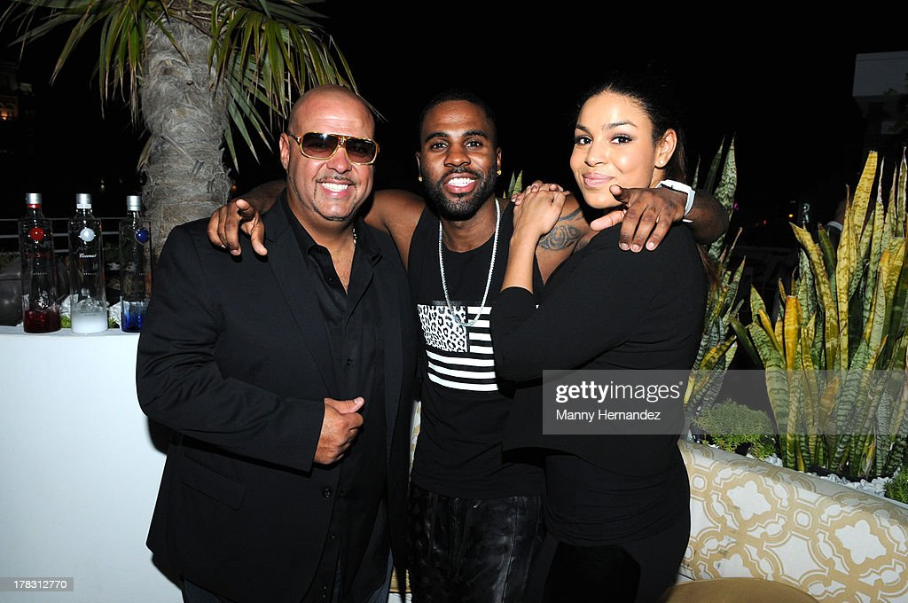 DJ Laz, Jordin Sparks and Jason Derulo attend the CIROC Amaretto Launch Event at Dream Hotel South Beach on August 27, 2013 in Miami, Florida.