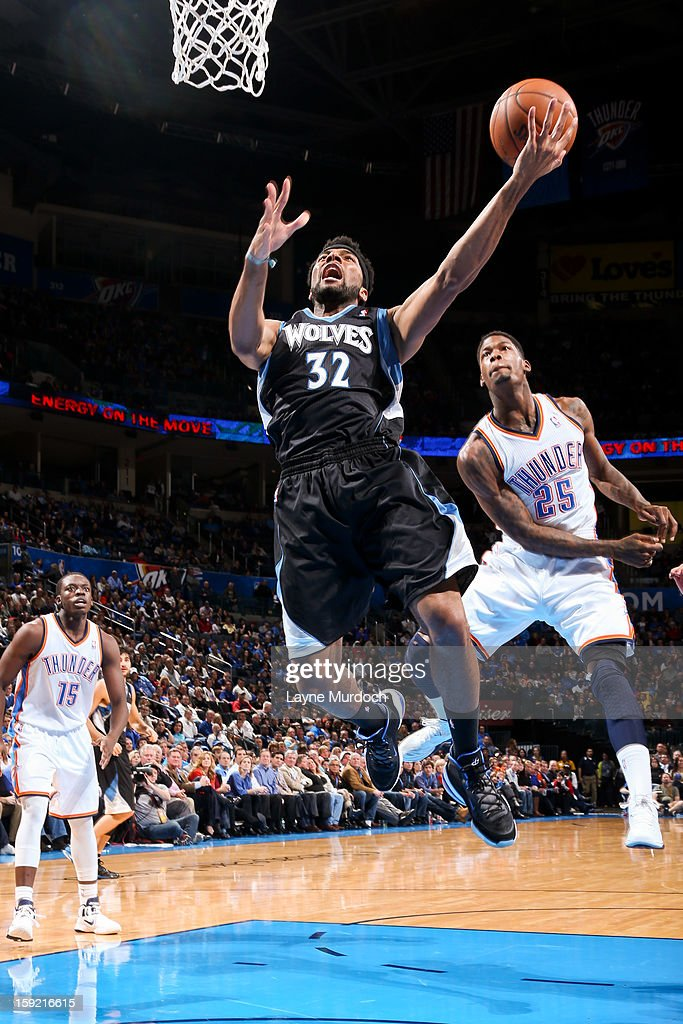 Lazar Hayward #32 of the Minnesota Timberwolves drives to the basket against the Oklahoma City Thunder on January 9, 2013 at the Chesapeake Energy Arena in Oklahoma City, Oklahoma.