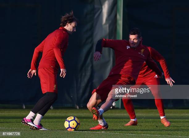 Lazar Markovic and Dejan Lovren of Liverpool during a training session at Melwood Training Ground on November 16 2017 in Liverpool England