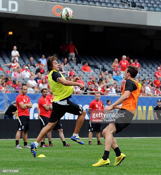 Lazar Markovic and Jack Robinson of Liverpool during a training session before the first game in the Guinness International Champions Cup between...