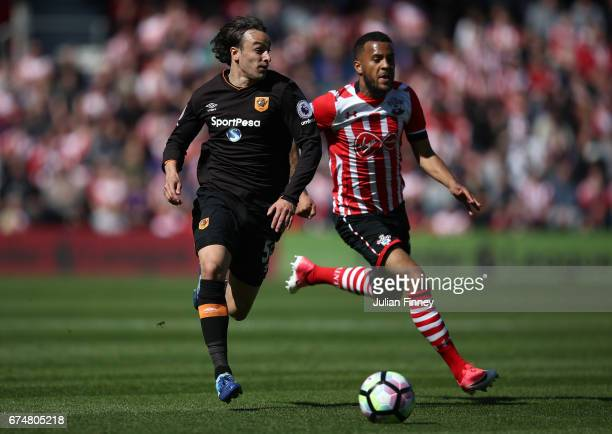Lazar Markovic of Hull City and Ryan Bertrand of Southampton during the Premier League match between Southampton and Hull City at St Mary's Stadium...