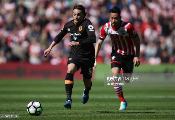 Lazar Markovic of Hull City in action during the Premier League match between Southampton and Hull City at St Mary's Stadium on April 29 2017 in...