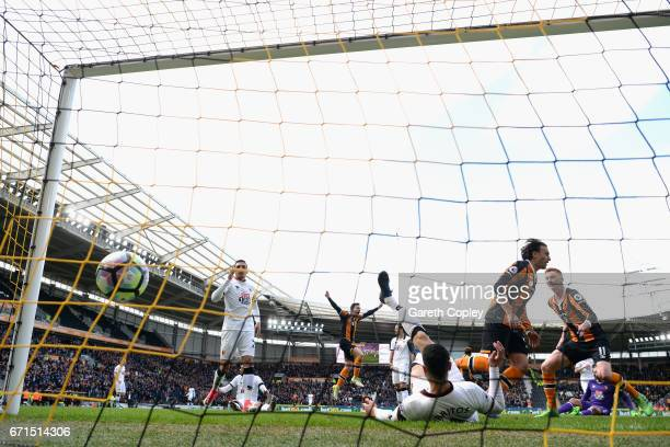 Lazar Markovic of Hull City scores his sides first goal during the Premier League match between Hull City and Watford at the KCOM Stadium on April 22...