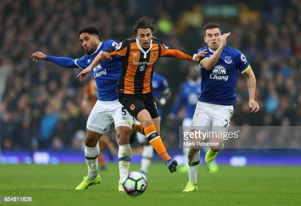 Lazar Markovic of Hull City takes on Ashley Williams and Seamus Coleman of Everton during the Premier League match between Everton and Hull City at...