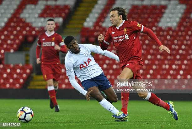 Lazar Markovic of Liverpool and Timothy Eyoma of Tottenham Hotspur in action during the Liverpool v Tottenham Hotspur Premier League 2 game at...