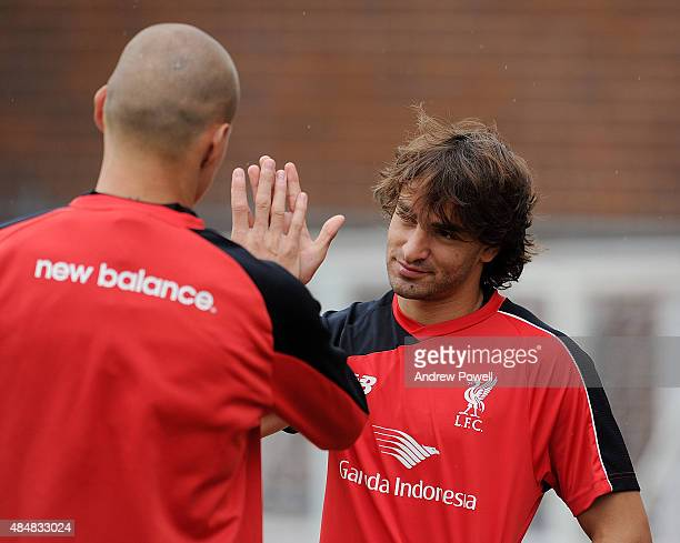 Lazar Markovic of Liverpool during a training session at Melwood Training Ground on August 22 2015 in Liverpool England