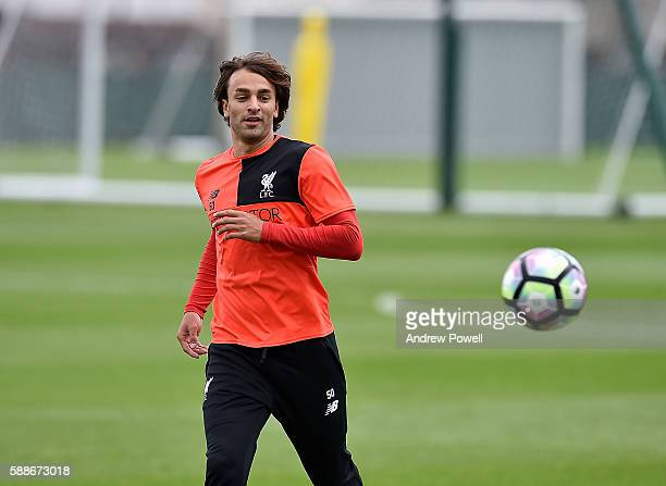 Lazar Markovic of Liverpool during a training session at Melwood Training Ground on August 12 2016 in Liverpool England