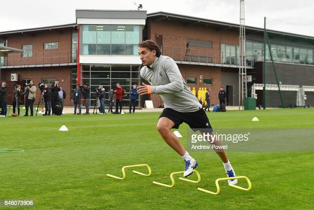 Lazar Markovic of Liverpool during a training session at Melwood Training Ground on September 12 2017 in Liverpool United Kingdom