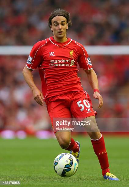 Lazar Markovic of Liverpool during the Barclays Premier League match between Liverpool and Aston Villa at Anfield on September 13 2014 in Liverpool...