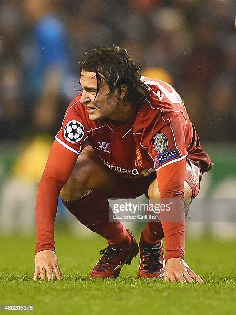 Lazar Markovic of Liverpool reacts as he is shown the red card during the UEFA Champions League group B match between Liverpool and FC Basel 1893 at...