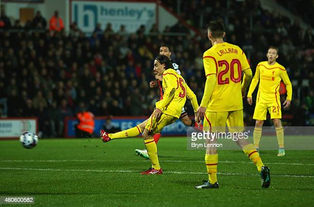 Lazar Markovic of Liverpool scores his team's second goal during the Capital One Cup QuarterFinal match between Bournemouth and Liverpool at...