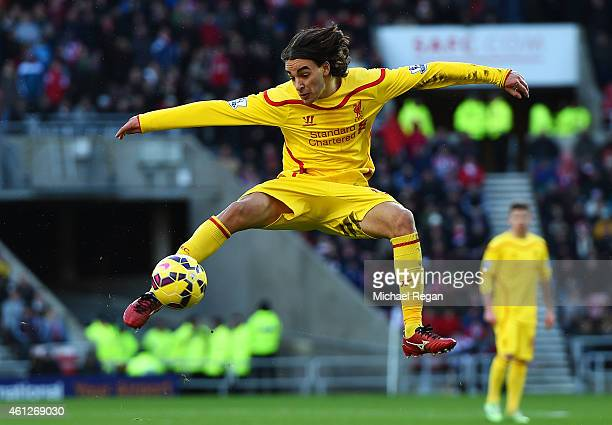 Lazar Markovic of Liverpool strikes a volley onto the crossbar during the Barclays Premier League match between Sunderland and Liverpool at Stadium...