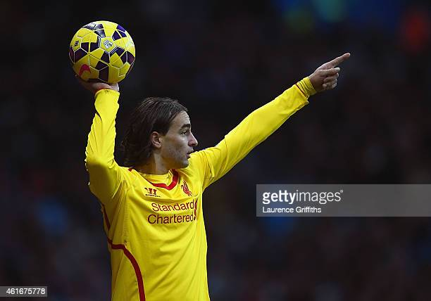 Lazar Markovic of Liverpool takes a throw in during the Barclays Premier League match between Aston Villa and Liverpool at Villa Park on January 17...