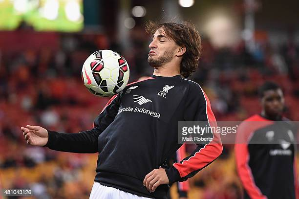 Lazar Markovic of Liverpool warms up on the field before the international friendly match between Brisbane Roar and Liverpool FC at Suncorp Stadium...