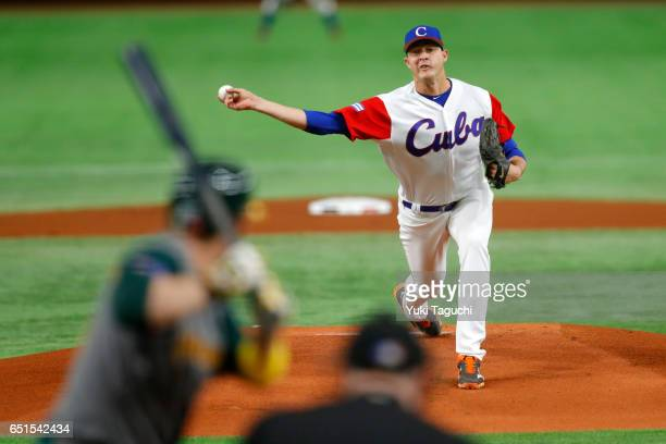 Lazaro Blanco of Team Cuba pitches in the first inning during Game 5 of Pool B of the 2017 World Baseball Classic against Team Australia at the Tokyo...