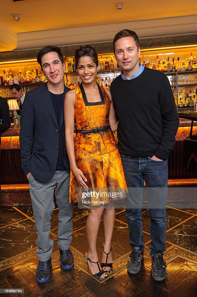 Lazaro Hernandez, Freida Pinto and Jack McCollough attend as Net-A-Porter host private dinner to celebrate the launch of the Proenza Schouler excluisve capsule collection on March 26, 2013 in London, England.