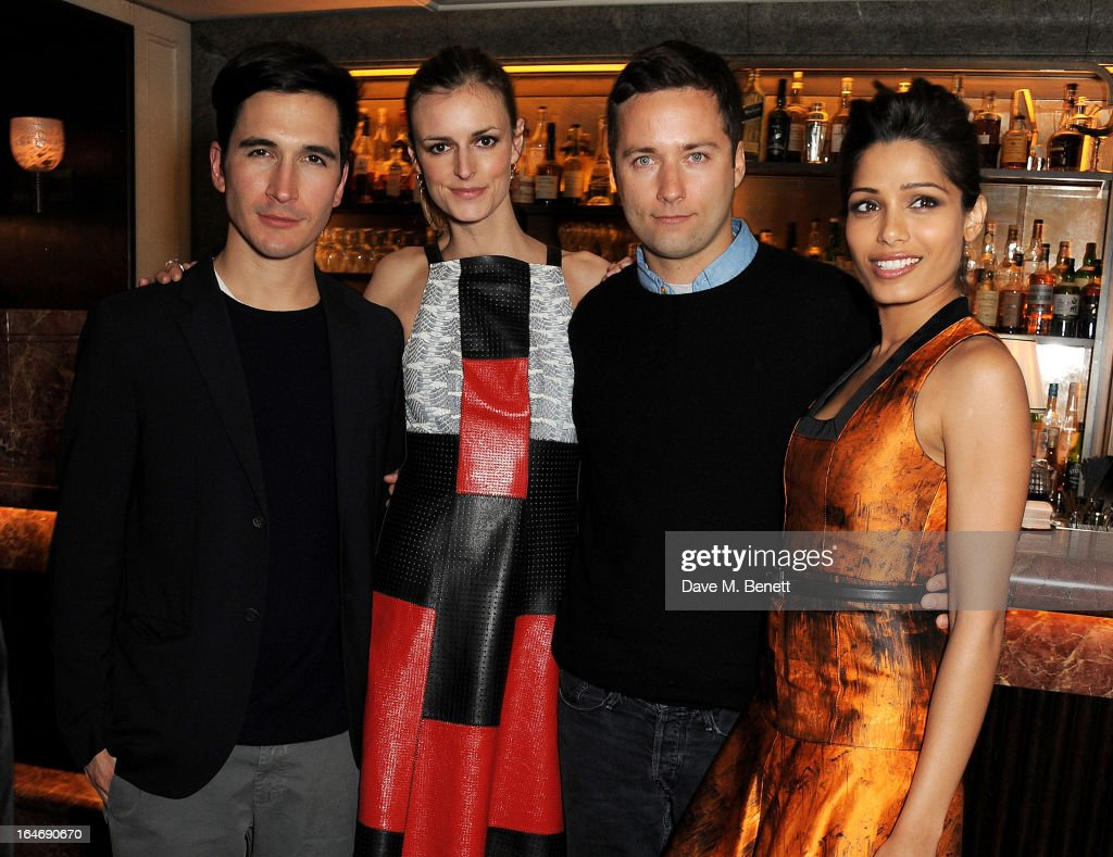 Lazaro Hernandez , Jacquetta Wheeler, Jack McCollough and Freida Pinto attend a dinner hosted by online luxury fashion retailer NET-A-PORTER to celebrate designers Jack McCollough and Lazaro Hernandez of Proenza Schouler, and launch their exclusive capsule collection to the site, at 34 Restaurant on March 26, 2013 in London, England.