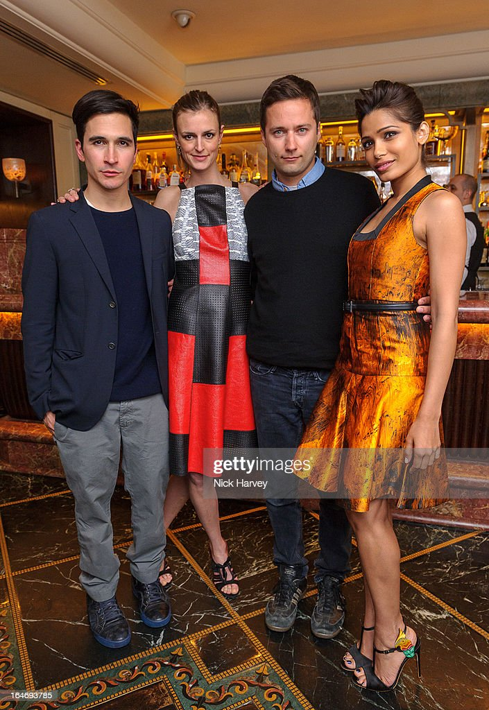 Lazaro Hernandez, Jacquetta Wheeler, Jack McCollough and Freida Pinto attend as Net-A-Porter host private dinner to celebrate the launch of the Proenza Schouler excluisve capsule collection on March 26, 2013 in London, England.