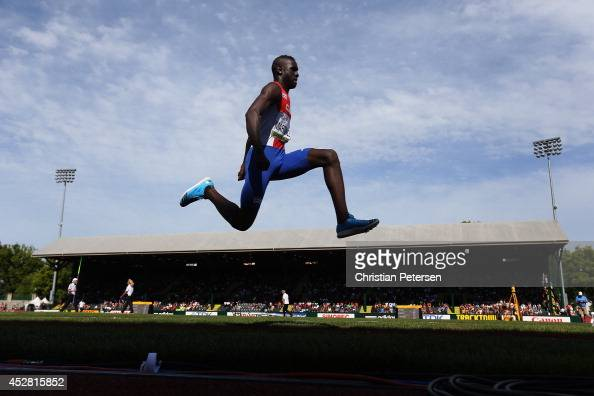 Lazaro Martínez of Cuba competes in the men's triple jump final during day six of the IAAF World Junior Championships at Hayward Field on July 27...