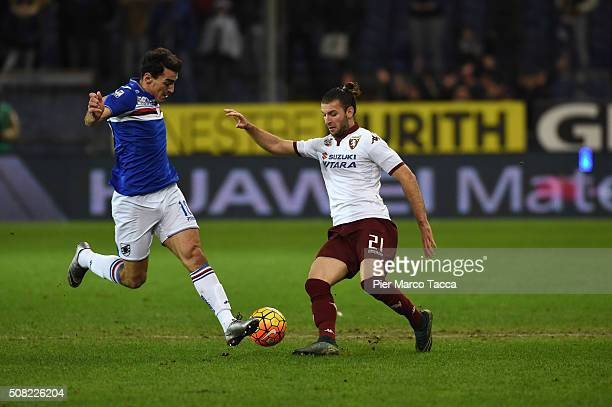 Lazaros Crhistodoulopoulos of UC Sampdoria competes for the ball with Gaston Silvaduring the Serie A match between UC Sampdoria and Torino FC at...