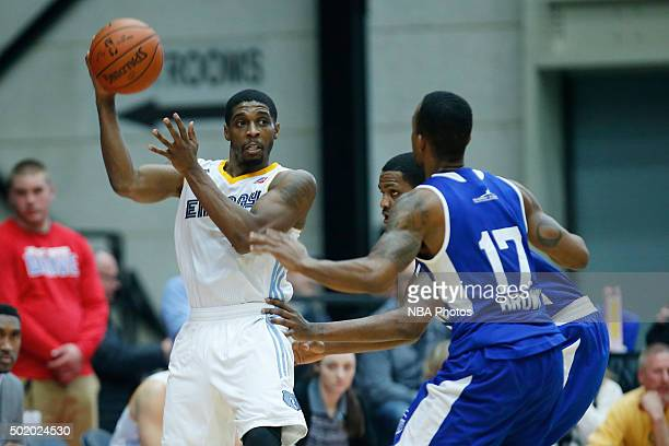 Lazeric Jones of the Iowa Energy looks to pass the ball against Lorenzo Brown of the Grand Rapids Drive during the second half of an NBA DLeague game...