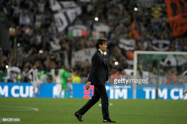 Lazi head coach Simone Inzaghi reacts at the end of the match after the TIM Cup Final match between SS Lazio and Juventus FC at Olimpico Stadium on...