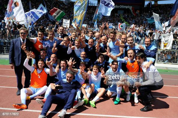 Lazio all team celebrates after the Serie A match between AS Roma and SS Lazio at Stadio Olimpico on April 30 2017 in Rome Italy