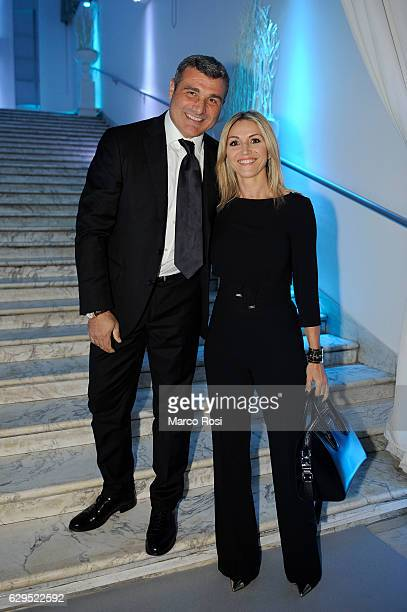 Lazio club manager Angelo Peruzzi and wife during the SS Lazio Christmas Dinner on December 13 2016 in Rome Italy