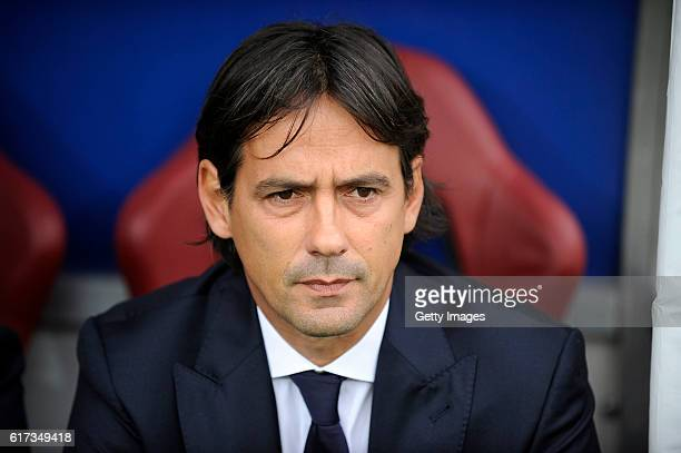 Lazio coach Simone Inzaghi before the Serie A match between FC Torino and SS Lazio at Stadio Olimpico di Torino on October 23 2016 in Turin Italy
