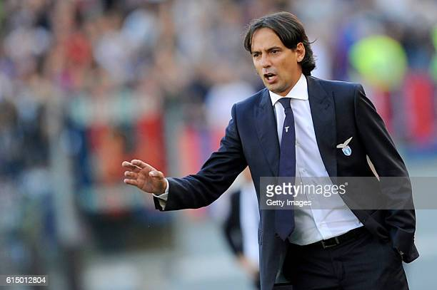 Lazio coach Simone Inzaghi during the Serie A match between SS Lazio and Bologna FC at Stadio Olimpico on October 16 2016 in Rome Italy