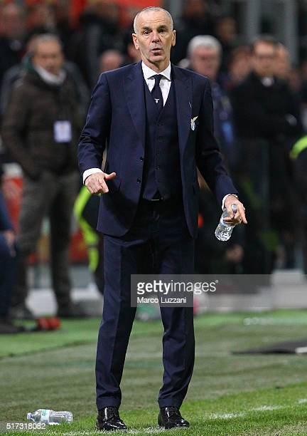 Lazio coach Stefano Pioli watches the action during the Serie A match between AC Milan and SS Lazio at Stadio Giuseppe Meazza on March 20 2016 in...
