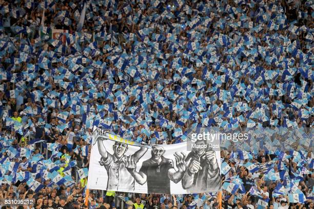 Lazio fans before the Italian Supercup match between Juventus and SS Lazio at Stadio Olimpico on August 13 2017 in Rome Italy
