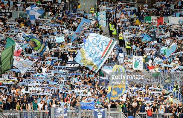 Lazio Fans before the Serie A match between SS Lazio and US Sassuolo at Stadio Olimpico on October 1 2017 in Rome Italy