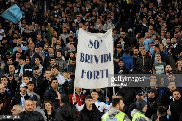 Lazio fans before the TIM Cup match between AS Roma and SS Lazio at Stadio Olimpico on April 4 2017 in Rome Italy