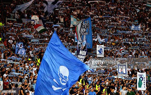 Lazio fans during the UEFA Champions League qualifying round play off first leg match between SS Lazio and Bayer Leverkusen at Olimpico Stadium on...