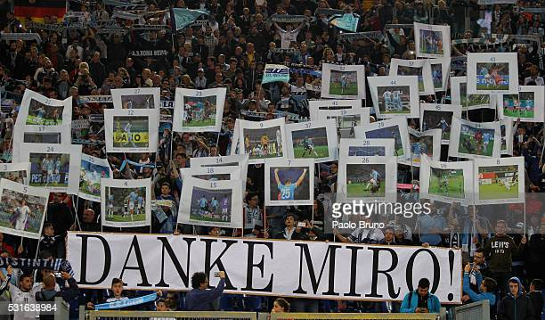 Lazio fans show the banners to celebrate the Miroslav Klose farewell before the Serie A match between SS Lazio and ACF Fiorentina at Stadio Olimpico...