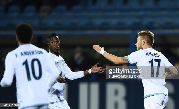 Lazio forward from Italy Ciro Immobile celebrates after scoring with Lazio's forward from Senegal Balde Diao Keita during the italian Serie A...