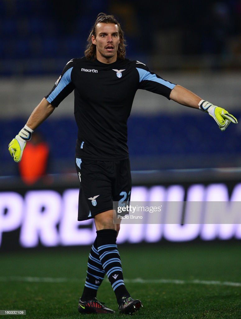 S.S. Lazio goalkeeper Fabrizio Marchetti gestures during the Serie A match between S.S. Lazio and AC Chievo Verona at Stadio Olimpico on January 26, 2013 in Rome, Italy.