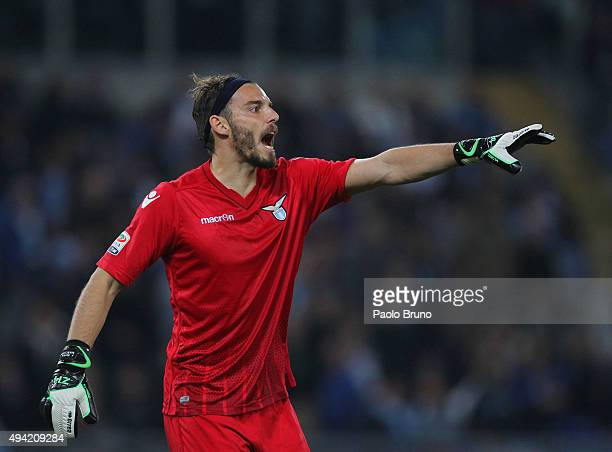 Lazio goalkeeper Federico Marchetti gestures during the Serie A match between SsS Lazio and Torino FC at Stadio Olimpico on October 25 2015 in Rome...