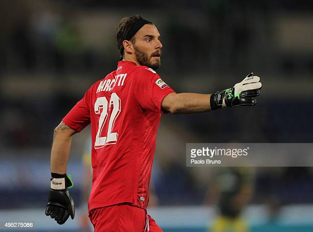 Lazio goalkeeper Federico Marchetti in action during the Serie A match between SS Lazio and AC Milan at Stadio Olimpico on November 1 2015 in Rome...