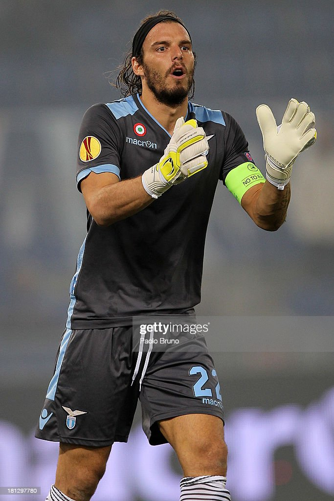 SS Lazio goalkeeper <a gi-track='captionPersonalityLinkClicked' href=/galleries/search?phrase=Federico+Marchetti+-+Soccer+Player&family=editorial&specificpeople=15029741 ng-click='$event.stopPropagation()'>Federico Marchetti</a> in action during the Uefa Europa League Group J match between SS Lazio and Legia Warszawa at Stadio Olimpico on September 19, 2013 in Rome, Italy.
