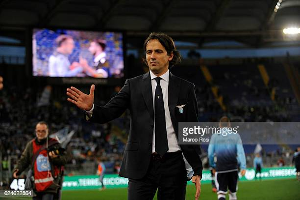 Lazio head coach Simone Inzaghi after the game during the Serie A match between SS Lazio and Genoa CFC at Stadio Olimpico on November 20 2016 in Rome...