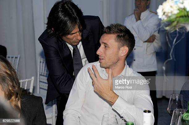 Lazio head coach Simone inzaghi and Lucas Biglia during the SS Lazio Christmas Dinner on December 13 2016 in Rome Italy