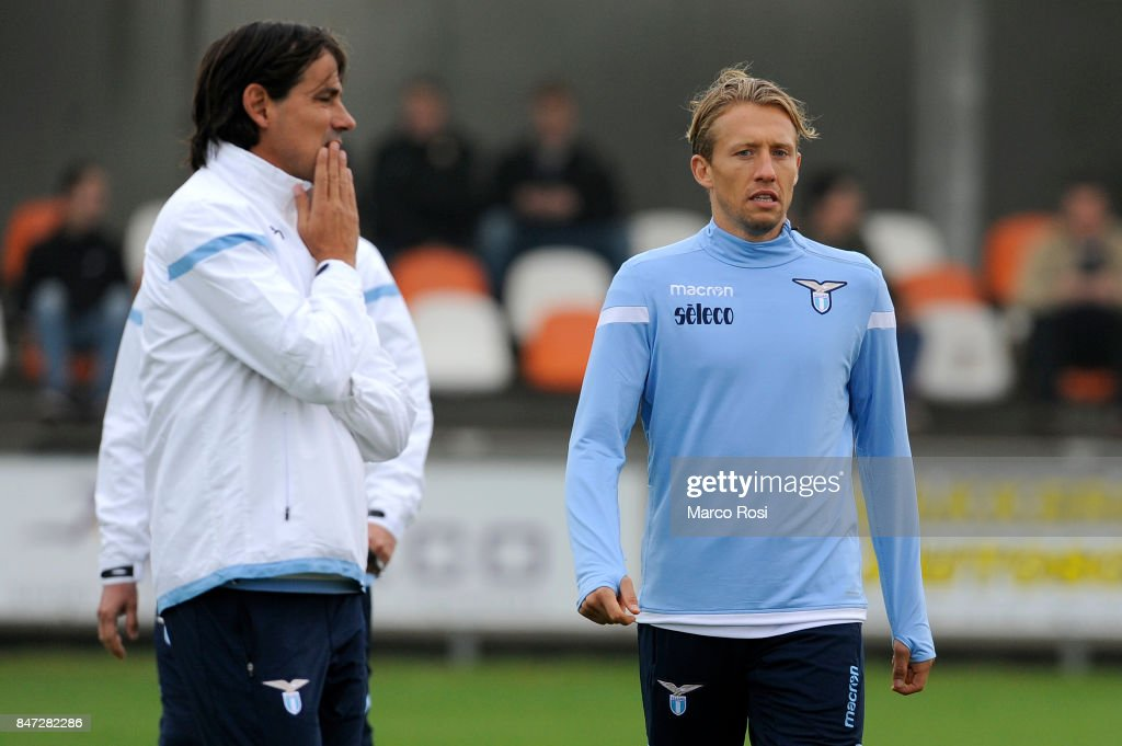 SS Lazio head coach Simone Inzaghi and Lucas Leiva during the SS Lazio Training Session on September 15, 2017 in Arnhem, Netherlands.
